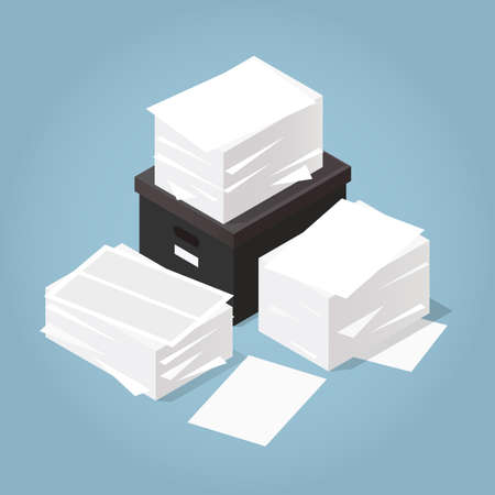 Vector isometric illustration of working with documents. Big stacks of paper and documents with box. Working with paper and archiving process concept.