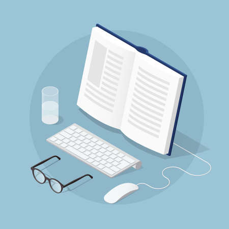Vector isometric concept illustration of online reading. Open book with glasses, computer keyboard, mouse and glass of water.