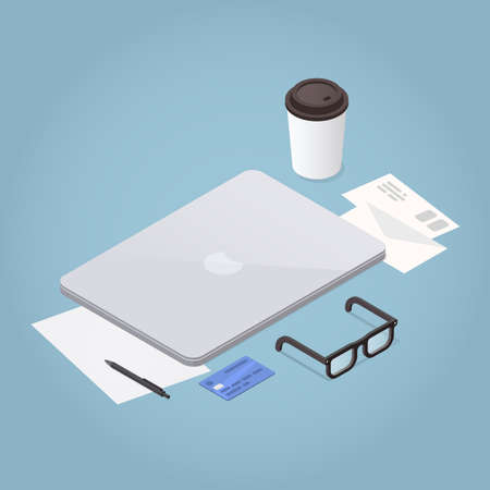 Vector isometric illustration of workplace. Closed laptop, papers, stationery, glasses, letters, coffee cup. Work concept.