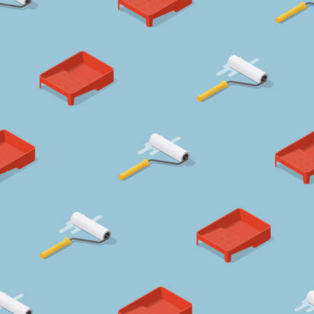 Isometric seamless pattern of paint rollers and trays. Refurbishment and renovation background.