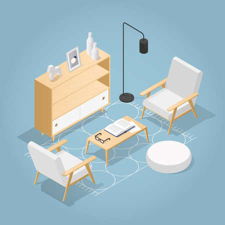 Vector isometric living room in mid century style. Two chairs, bookshelf, coffee table with vase open book and glasses, rug on the floor, floor lamp. Detailed illustration.
