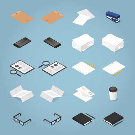 Vector isometric office supplies set: stack of paper, folder, file, pen, pencil, glasses, stationary, clipboard, diagram, notebook, glasses, magnifier, smartphone, letters, stapler, documents.