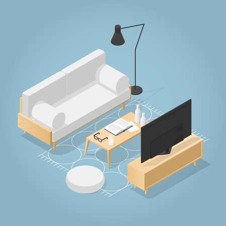 Vector isometric living room in mid century style. Sofa with pillows, pouf, floor lamp, coffee table with vase, open book, glasses and rug. Detailed illustration.