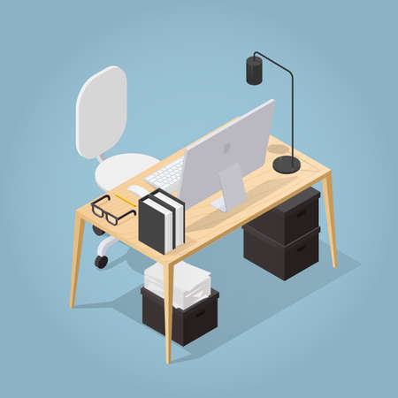 Isometric vector illustration of office workplace. Office desk, modern chair, documents, papers, desktop computer, lamp, folders, pensil, glasses, box. 向量圖像