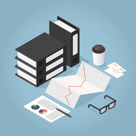 Vector isometric illustration of working with documents. Stack of paper, folders, glasses, documents, charts, magnifier, letters, coffee cup. Analysing and researching process concept.