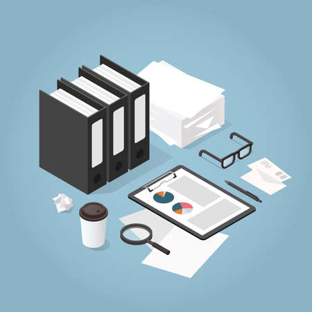 Vector isometric illustration of working with documents. Stack of paper, folders, glasses, documents, charts, magnifier, letters, coffee cup. Analysing and researching creative process concept.