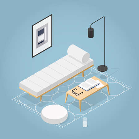 Vector isometric room interior in mid century style. Daybed, pouf, coffee table with vase open book and glasses, rug on the floor, floor lamp, wall art. Detailed illustration.