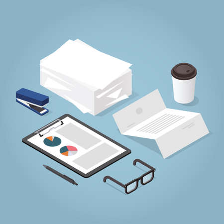 Vector isometric illustration of working with documents. Big stacks of paper, clipboard with chart, contract, documents, magnifier, glasses, office supplies. Analysing and researching process concept. Иллюстрация