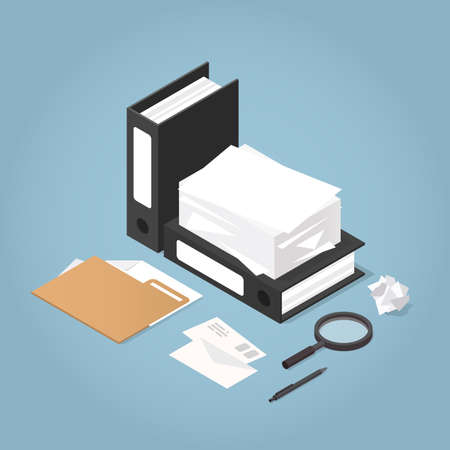 Vector isometric illustration of working with documents. Big stacks of paper, folders, letters, documents, magnifier, pen. Analysing and auditing process concept.