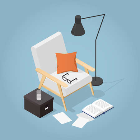 Vector isometric illustration of cozy reading place at home. Armchair in mid century style with a pillow, floor lamp, open book, papers, glasses, glass of water.