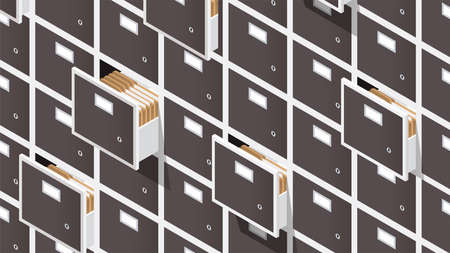 Vector isometric file storage concept illustration. Very detailed big storage cabinet with open drawers full of papers and folders.