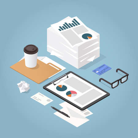 Vector isometric illustration of working with documents. Big stacks of paper, folder, glasses, documents, charts, magnifier, letters, credit card. Analysing and researching creative process concept.