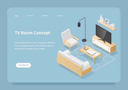 Vector isometric TV room concept landing page. Living room in mid century style. Sofa, chair, TV, book shelf on the wall, coffee table with vase open book and glasses, rug on the floor.