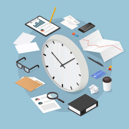 Vector isometric time management concept illustration. Big clock face with documents, papers, clipboard, charts, folders, phone magnifier and office supplies.