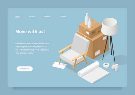 Homepage concept of moving service. Isometric illustration of moving to a new house. Cardboard boxes with furniture, armchair, home decor, lamp, roll of paper and tape. Иллюстрация