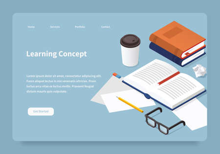 Vector isometric learning landing page. Student desk illustration: open book with a bookmark, papers, pencil, glasses, papers, eraser. Studying before exam concept. Иллюстрация