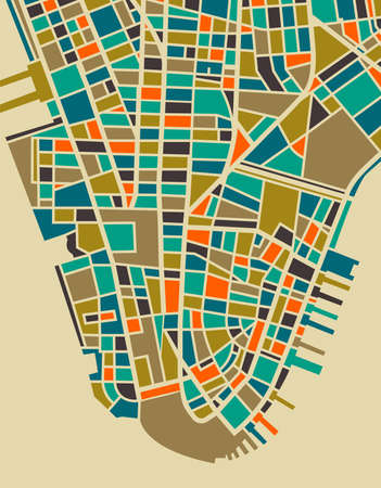 New York vector map. Colorful playful vintage design base for travel card, advertising, gift or poster. This map is based on a real city plan, but NOT intended to be precise. Иллюстрация
