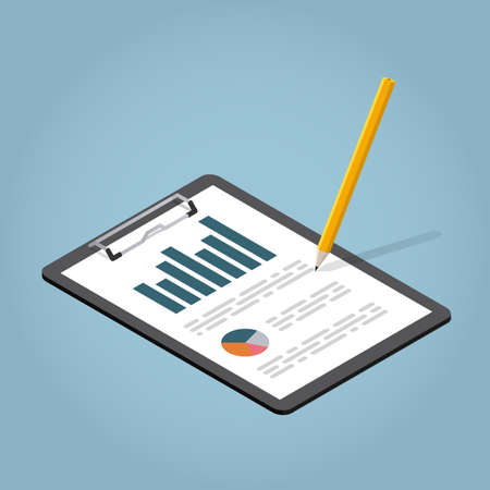 Vector isometric illustration of working with documents. Clipboard with charts and pencil. Analysing and researching creative process concept.