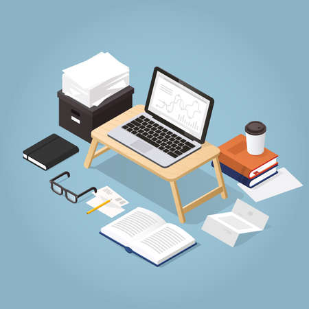 Vector isometric illustration of remote work. Cozy home workspace - laptop, glasses, papers, coffee, documents, mail, open book, organizer. Freelance concept. Иллюстрация