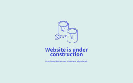 Vector page concept of site under construction with isometric illustration of linear minimalistic paint buckets. Иллюстрация