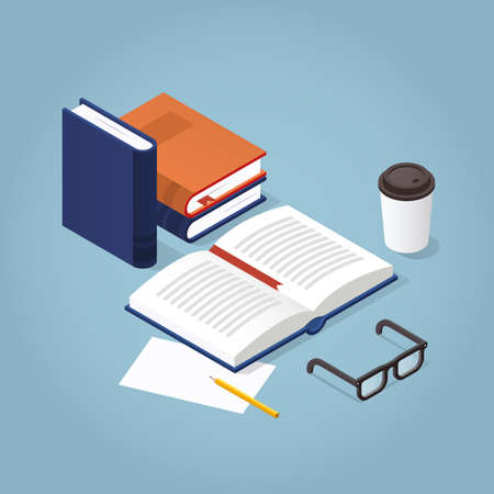 Vector isometric reading books illustration. Open book with reading glasses, paper and pencil. Academic education symbol learning, reading, school, knowledge science university library concept.