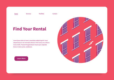 Vector isometric homepage of rental service. Landing page with building facade illustration. Renting house, office or apartment concept. Illustration is under mask, so you can move and adjust it.