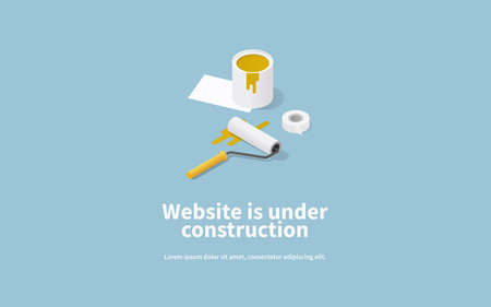 Vector page concept of site under construction with isometric illustration of paint bucket, roller and masking tape. 免版税图像 - 161120450