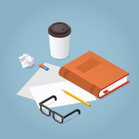 Vector isometric reading book illustration. Book with reading glasses, paper and pencil coffee cup. Academic education symbol learning, reading, school, knowledge science university library concept. Иллюстрация