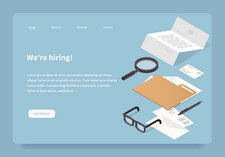 Vector isometric concept homepage of hiring company. Empty office workplace: Office supplies illustration: papers, folder, mail, letters, glasses, magnifier, business card, contract. 免版税图像 - 161120458