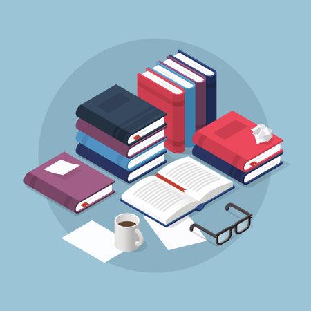 Stacks of books isometric illustration