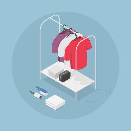 Isometric Clothes Rack Illustration