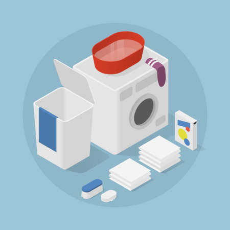 Isometric Home Laundry Illustration Иллюстрация