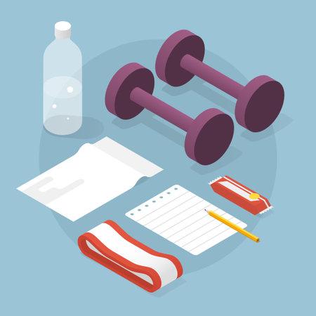 Isometric Fitness Equipment Illustration Иллюстрация