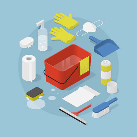 Isometric Cleaning Objects Illustration