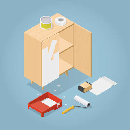 Isometric Furniture Renovation Illustration Иллюстрация