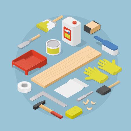 Isometric Woodwork Tools Illustration