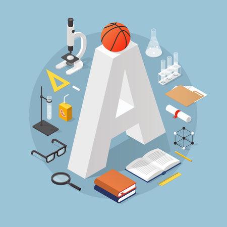Isometric School Concept Illustration
