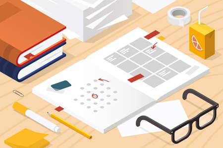 Isometric Planning The Week Illustration