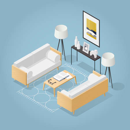 Isometric Living Room Illustration  イラスト・ベクター素材