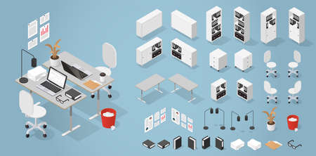 Isometric Office Furniture Kit Illusztráció