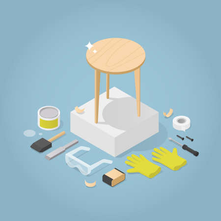 Isometric Furniture Repair Illustration
