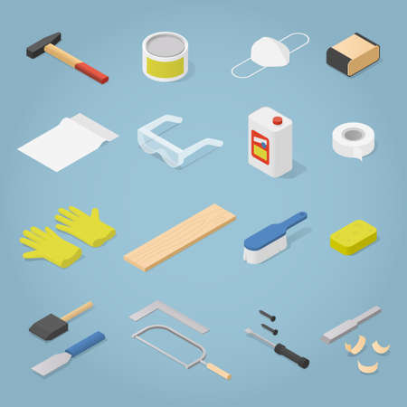 Isometric Woodwork Tools Set