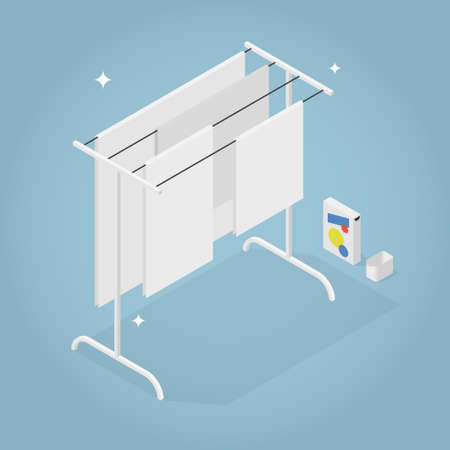 Isometric Home Laundry Illustration  イラスト・ベクター素材