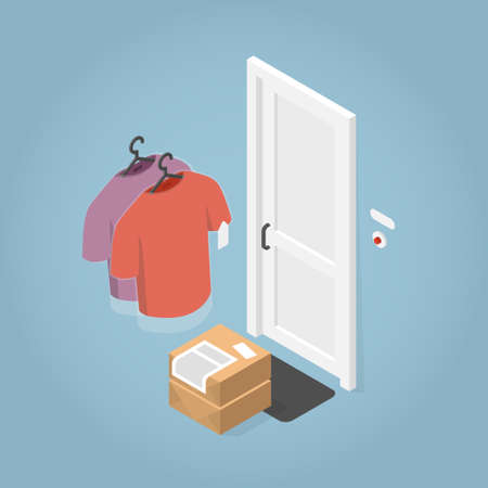Isometric Clean Clothes Delivery Illustration