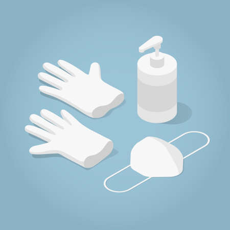 Isometric Mask Gloves And Sanitizer Illustration