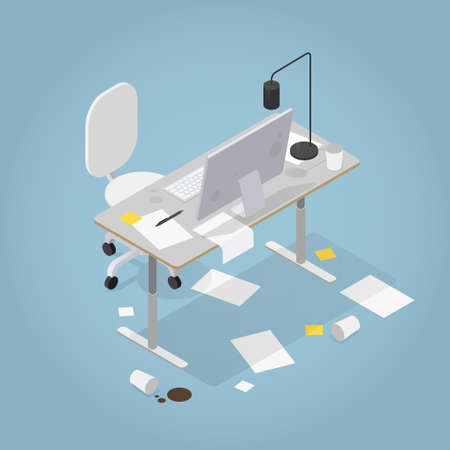 Isometric Messy Office Illustration  イラスト・ベクター素材