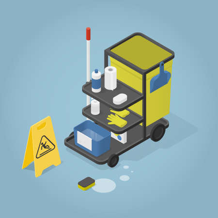 Isometric Cleaning Cart Illustration
