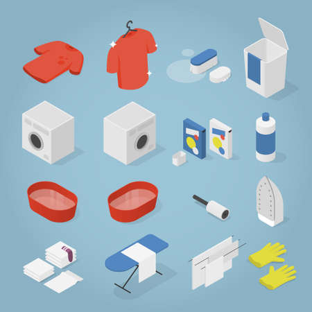 Isometric Laundry Objects Set