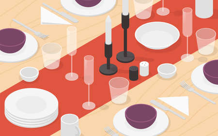 Isometric Table Setting Illustration  イラスト・ベクター素材