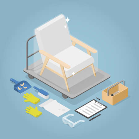 Isometric Armchair Restoration Illustration